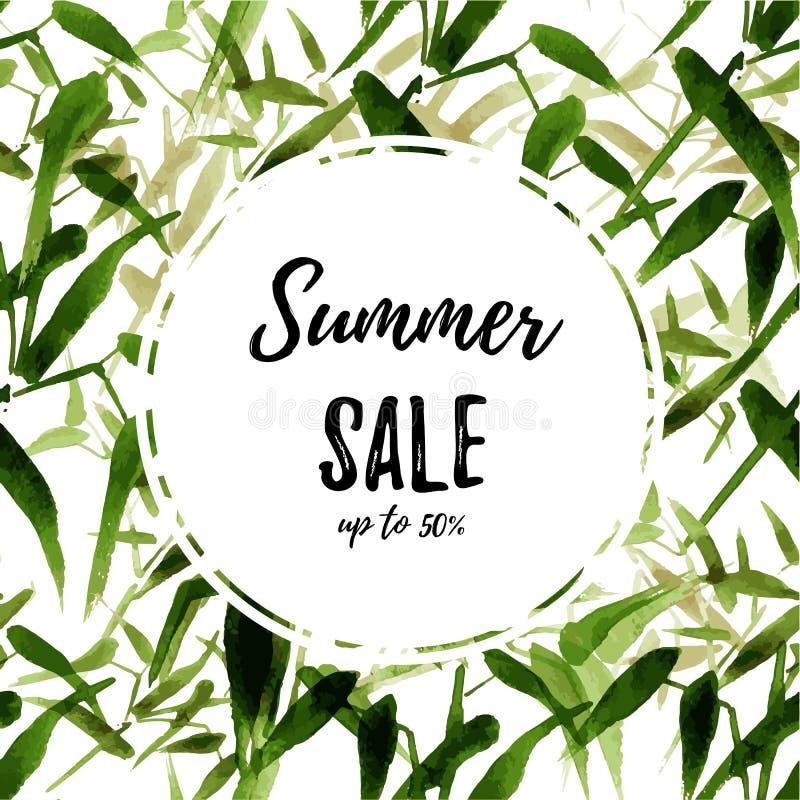 Coleção nova Círculo branco no fundo tropical do verão quadrado Folhas exóticas de bambu da aquarela moderna Vetor ilustração stock