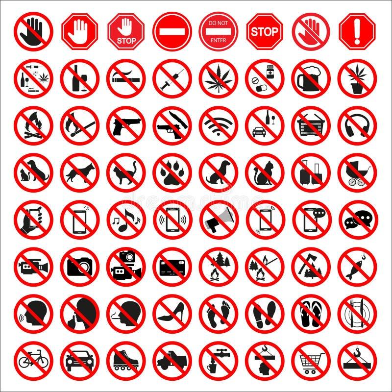 Coleção padrão de alta qualidade do sinal da proibição ilustração stock