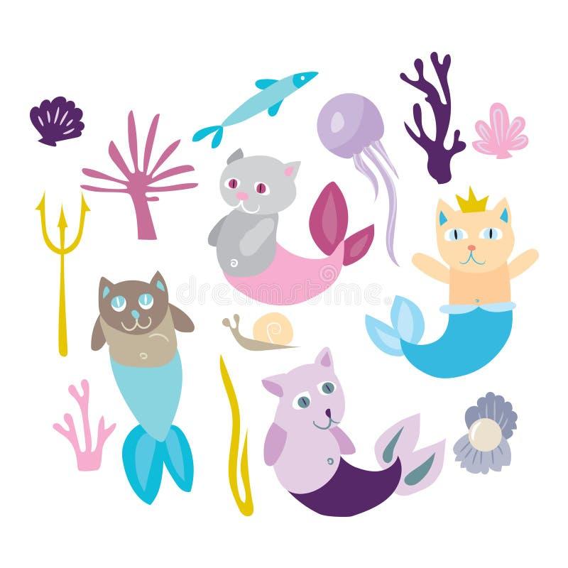Coleção pequena do gatinho da sereia Gato da vaquinha com peixes Ta dos sirenes ilustração royalty free