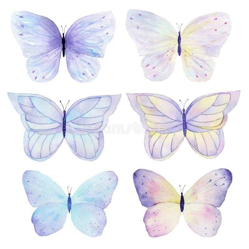 Coleção pintado à mão da aquarela da borboleta no fundo branco Pode ser usado para cartões, convites do casamento, logotipo, impr ilustração stock