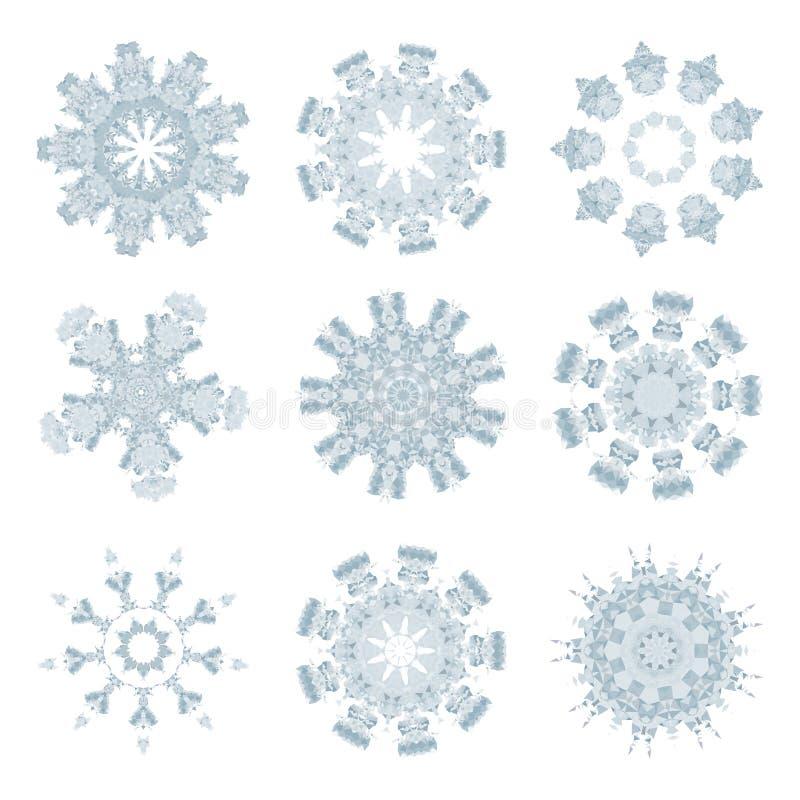 Coleção poligonal do molde do mosaico dos flocos de neve em baixo poli ilustração royalty free