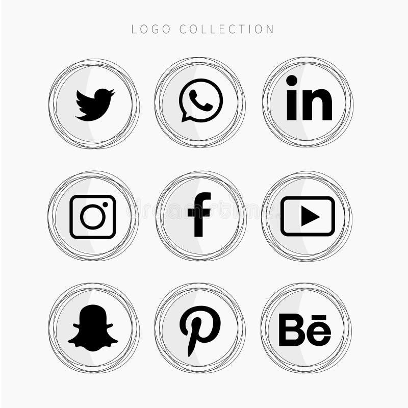 Coleção popular do logotipo dos meios sociais ilustração royalty free
