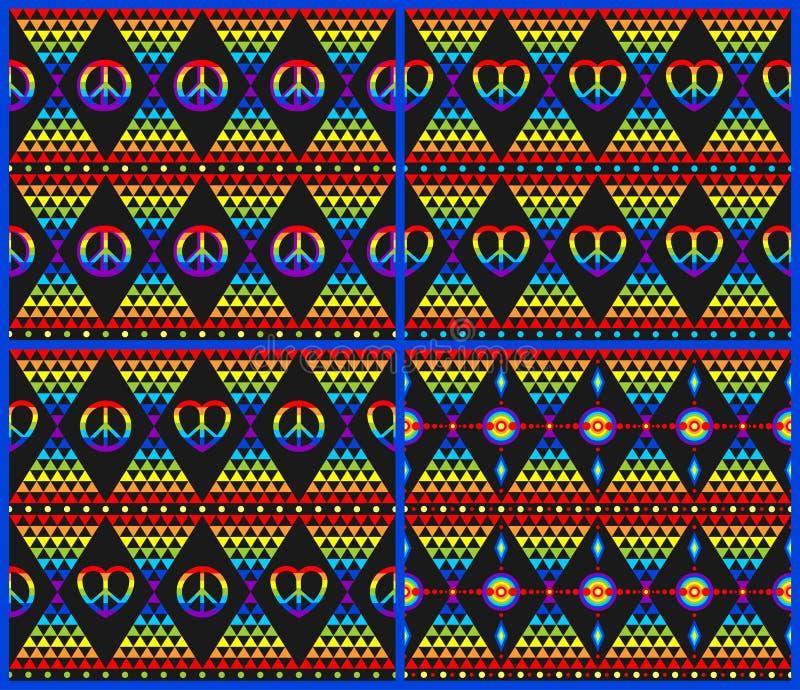 Coleção preta sem emenda dos fundos da hippie do vintage com arco-íris, símbolo da hippie e alinhador longitudinal colorido do tr ilustração do vetor
