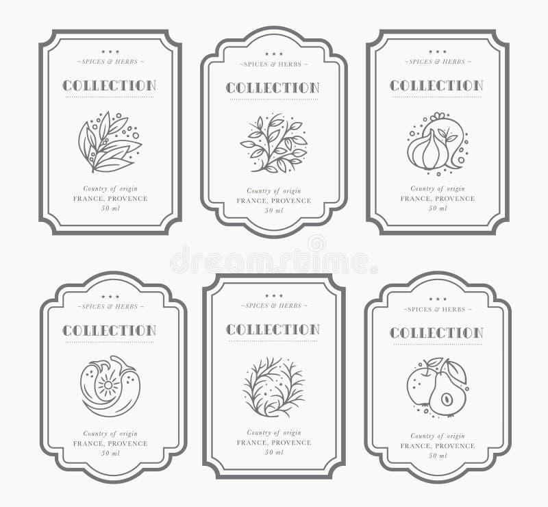 Coleção preto e branco customizável da etiqueta da despensa ilustração stock