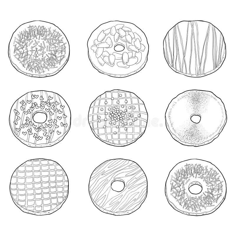 Coleção preto e branco de anéis de espuma do vetor ilustração do vetor