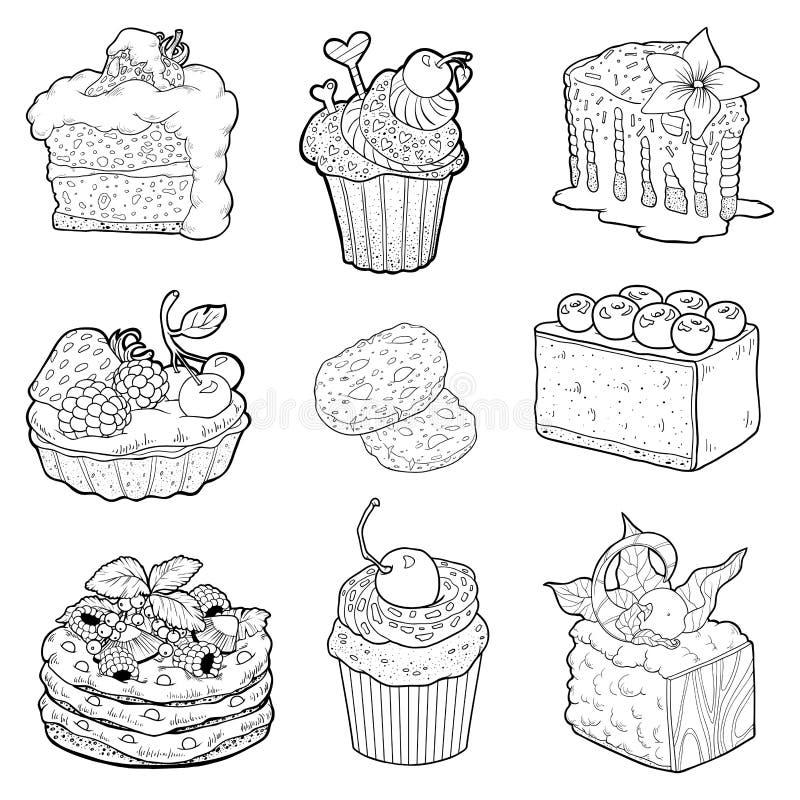 Coleção preto e branco de pastelarias doces Bolos, queques ilustração stock