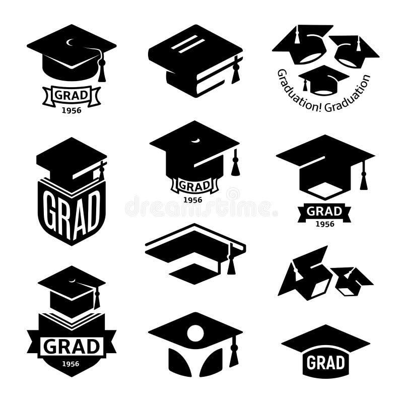 Coleção preto e branco isolada do logotipo do chapéu da graduação dos estudantes da cor, barrete do grupo do logotype dos livros, ilustração royalty free