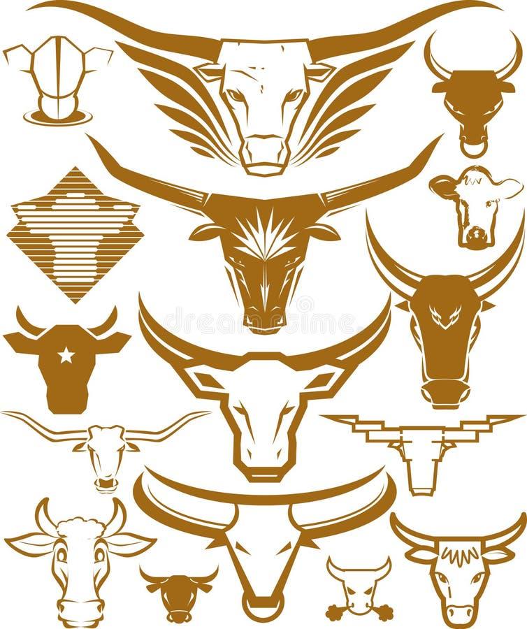 Coleção principal da vaca e da Bull ilustração stock