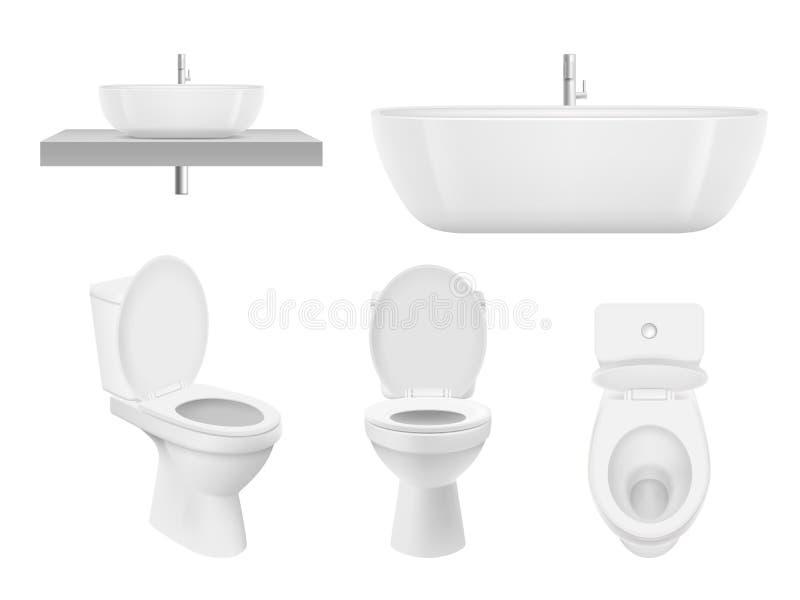 Coleção realística do banheiro Toalete, branco limpo de lavagem do dissipador do banheiro da bacia do armário para a bacia fresca ilustração royalty free