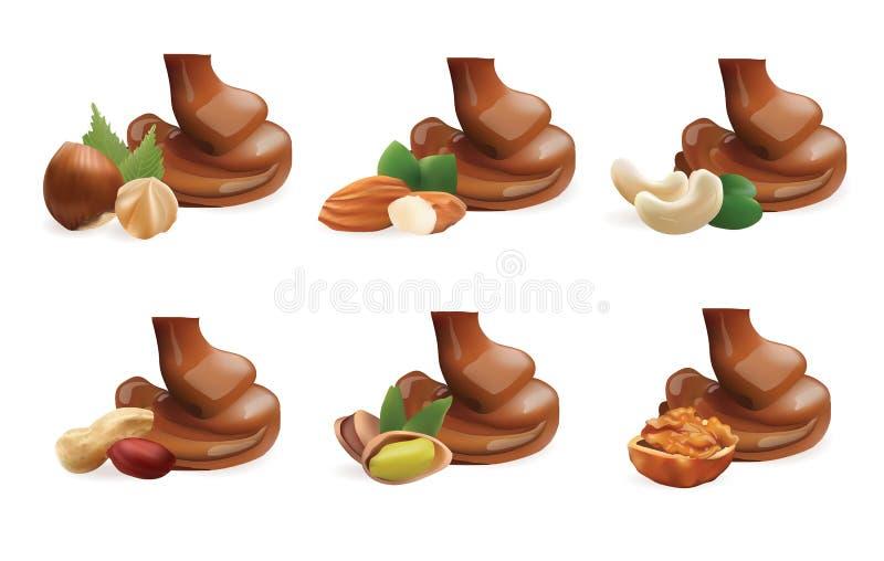 Coleção realística do vetor do chocolate de derramamento derretido líquido e de porcas diferentes Isolado no fundo branco ilustração royalty free