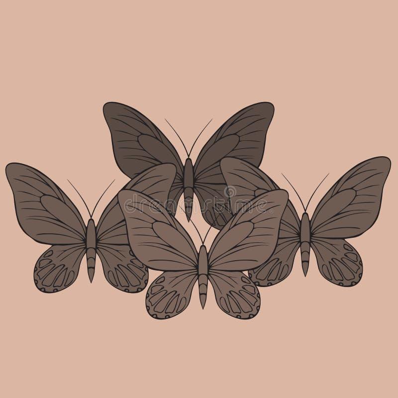 Coleção realística grande de borboletas coloridas Os insetos de voo do verão ajustaram-se para cartões e álbum de recortes ilustração stock