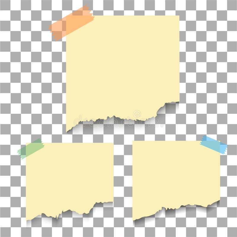 Coleção realístico do pedaço de papel rasgado vário branco O memorando da nota da etiqueta com grampo, apronta-se para sua mensag ilustração stock