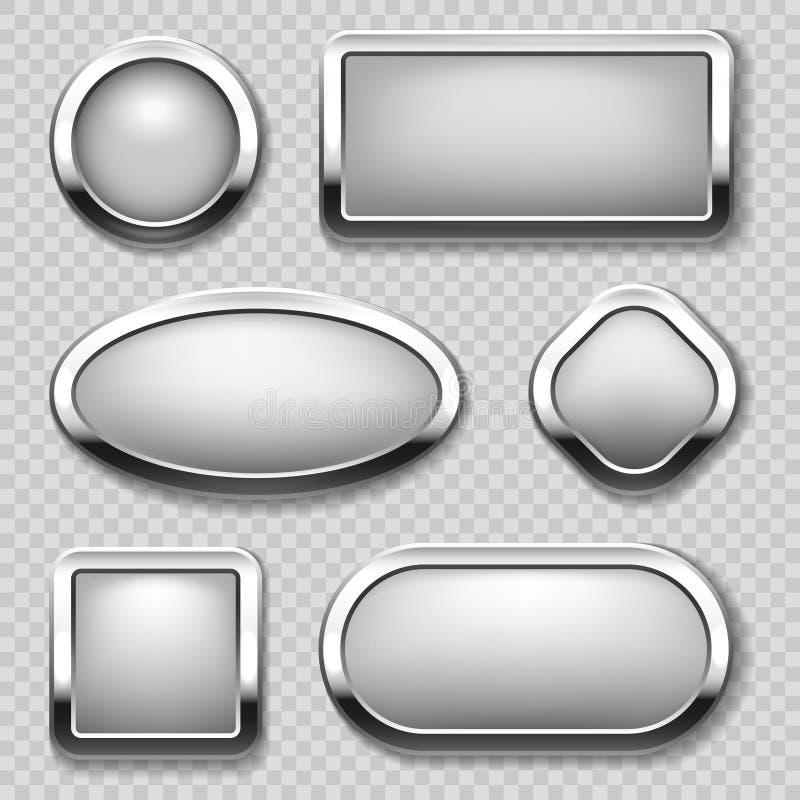 Coleção redonda do botão do cromo no fundo transparente Botões do metal do vetor ilustração royalty free