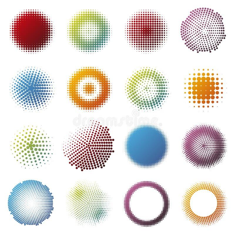 Coleção redonda dos elementos do projeto de intervalo mínimo colorido ilustração royalty free