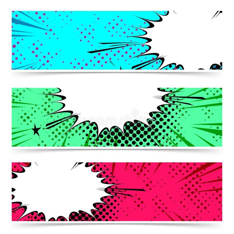 Coleção retro da bandeira do inseto da bolha do discurso da explosão Azul, gre ilustração royalty free