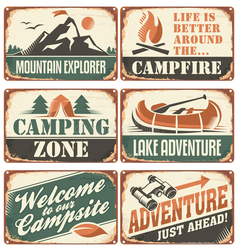 Coleção retro de acampamento dos sinais ilustração royalty free