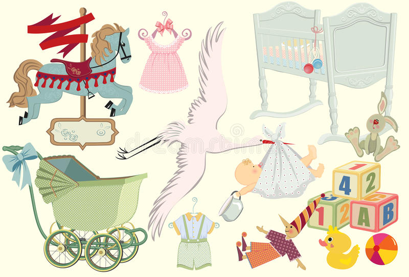 Coleção retro do bebê ilustração royalty free
