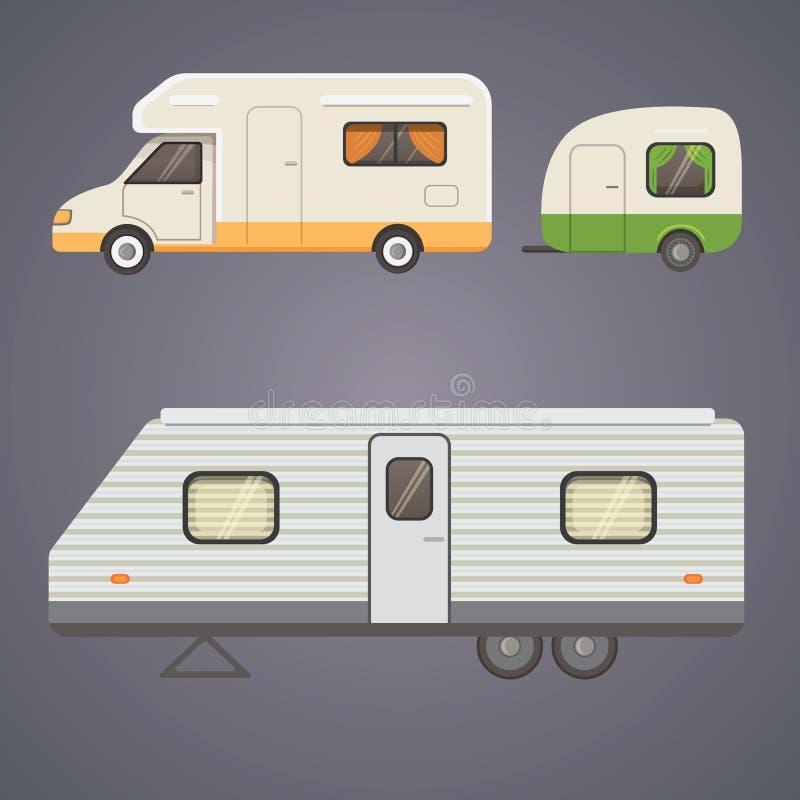 Coleção retro do reboque de campista caravana dos reboques do carro tourism ilustração stock
