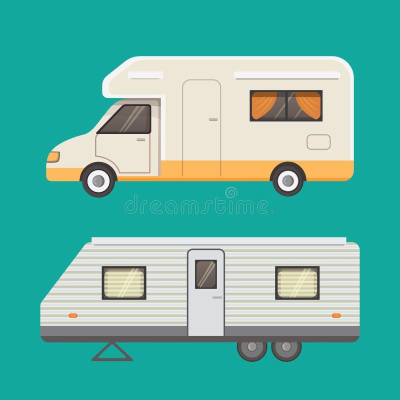 Coleção retro do reboque de campista caravana dos reboques do carro tourism ilustração royalty free