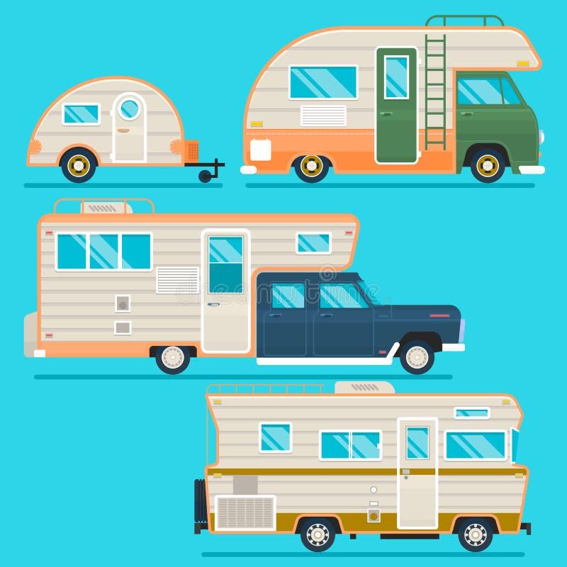 Coleção retro do reboque de campista Grupo de campistas recolored do caminhão do viajante no estilo liso isolados no azul Ilustra ilustração stock