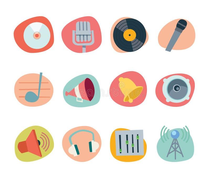 Coleção retro do renascimento dos ícones da música - jogo 6 ilustração stock