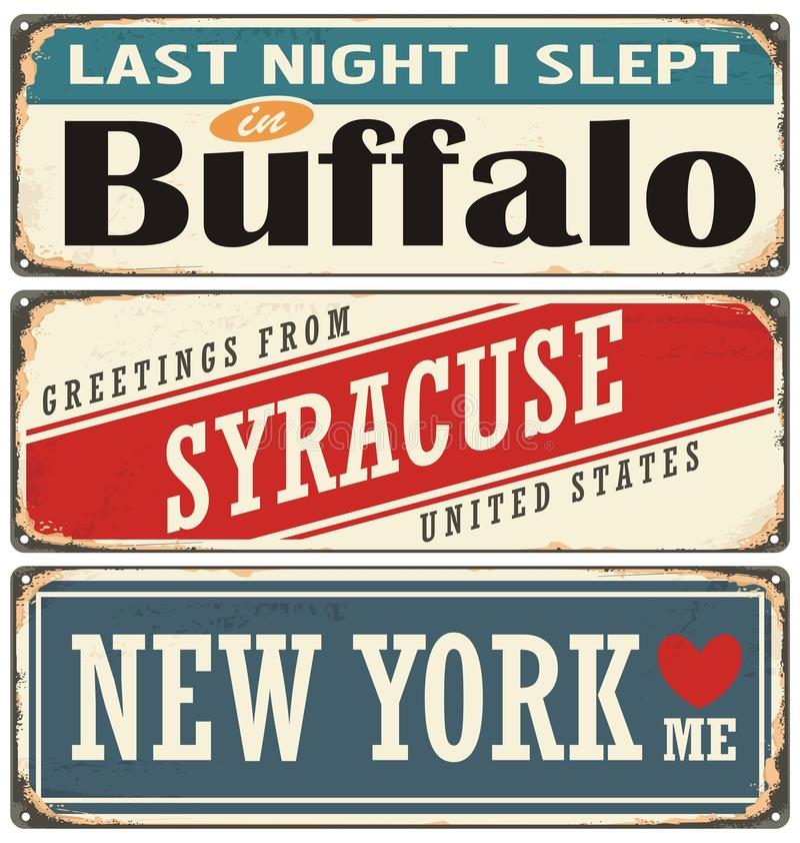 Coleção retro do sinal da lata com nomes da cidade dos EUA ilustração do vetor