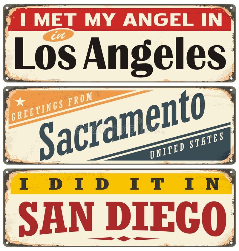 Coleção retro do sinal da lata com nomes da cidade dos EUA ilustração stock