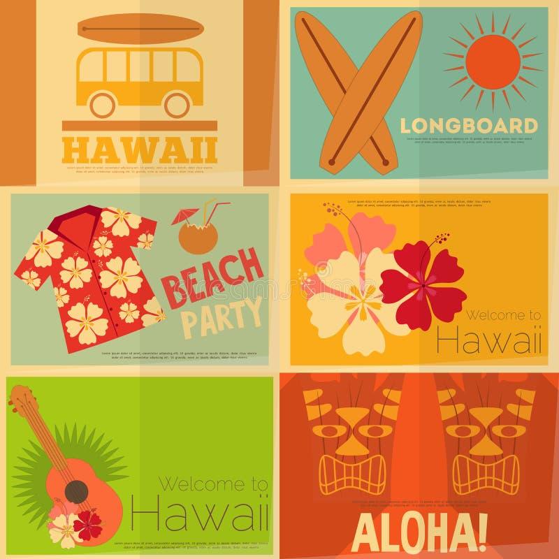 Coleção retro dos cartazes de Havaí ilustração royalty free