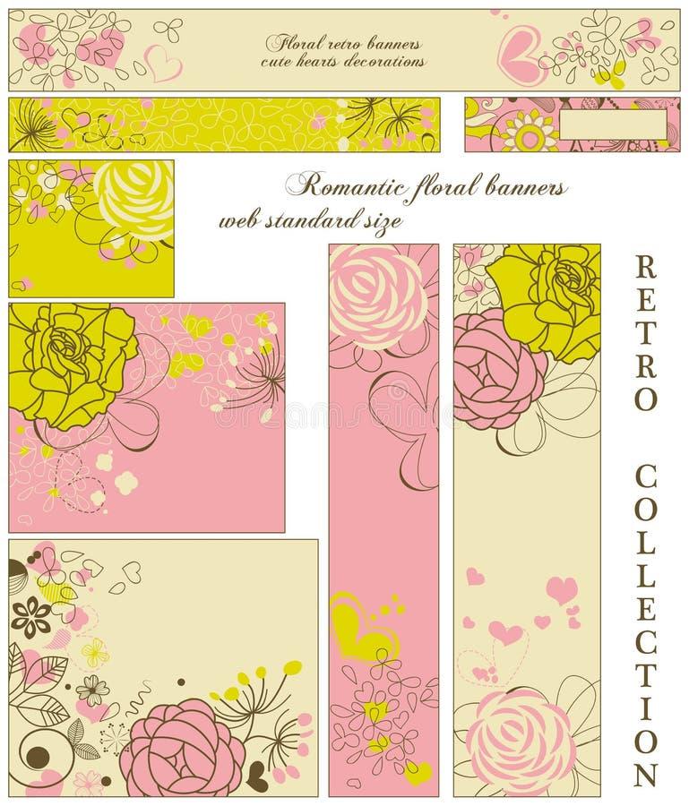 Coleção retro floral das bandeiras ilustração do vetor