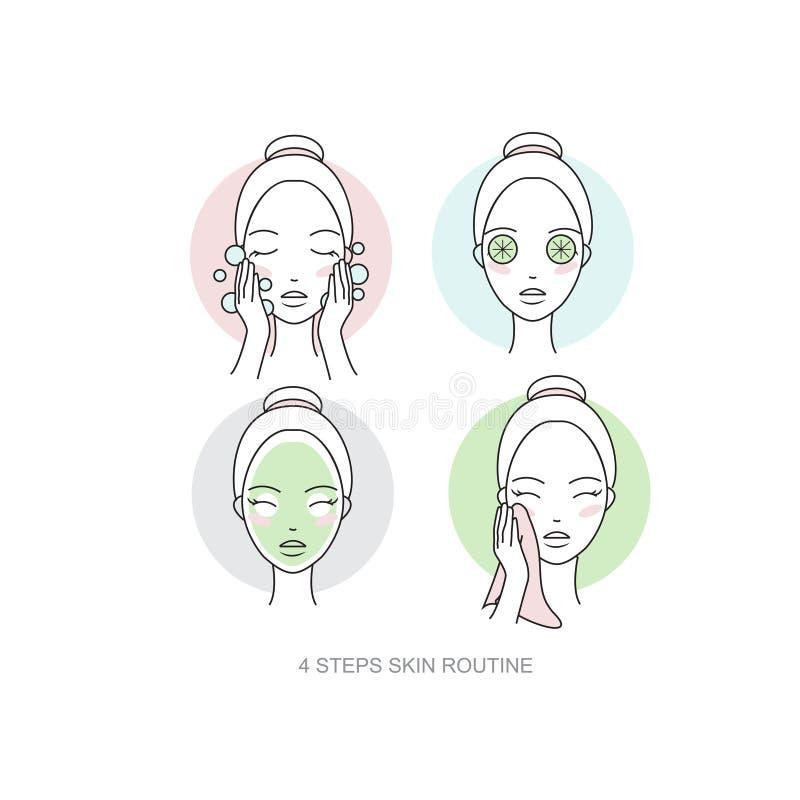 Coleção rotineira do ícone do skincare da mulher Etapas como aplicar a composição da cara O vetor isolou as ilustrações ajustadas ilustração do vetor