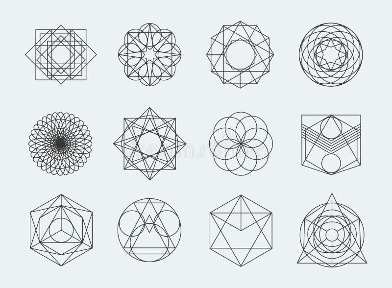 Coleção sagrado dos símbolos da geometria grupo de moderno, sumário, a alquimia, espiritual, elementos místicos no fundo branco ilustração stock