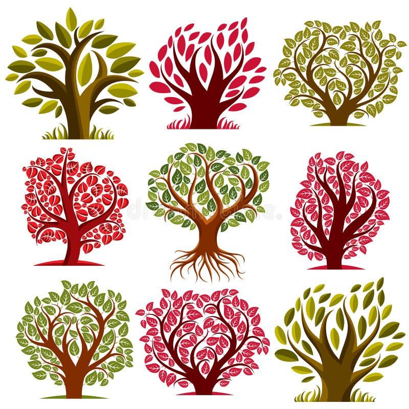 A coleção sazonal das árvores do vetor da arte, pode ser usada como o symb do projeto ilustração royalty free