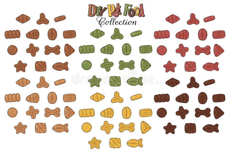 Coleção seca dos alimentos para animais de estimação ilustração stock