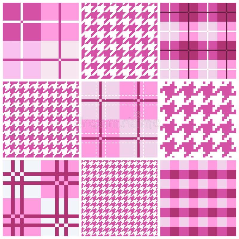 Coleção sem emenda cor-de-rosa do teste padrão ilustração royalty free