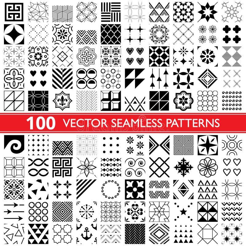 coleção sem emenda do teste padrão de 100 vetores, testes padrões universais geométricos, telhas e papéis de parede - bloco grand ilustração stock