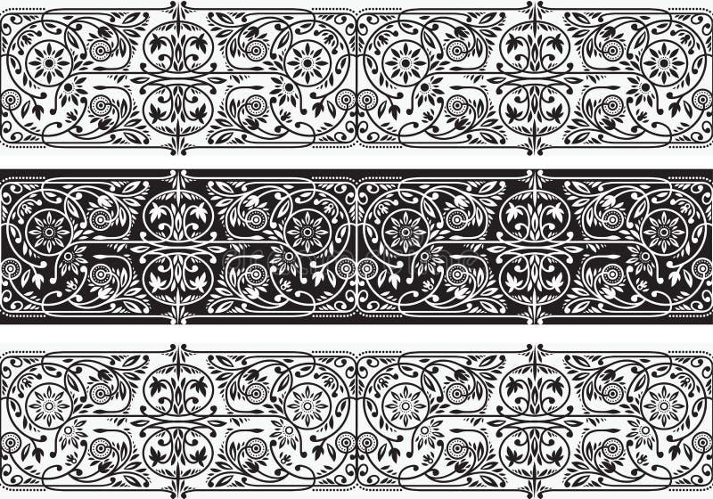Coleção sem emenda floral preto e branco das beiras ilustração royalty free