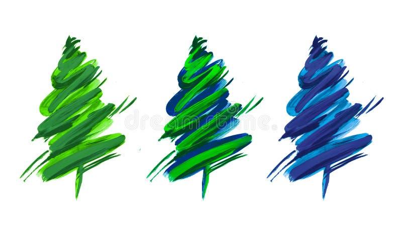 Coleção simples da árvore de Natal do curso da escova ilustração do vetor