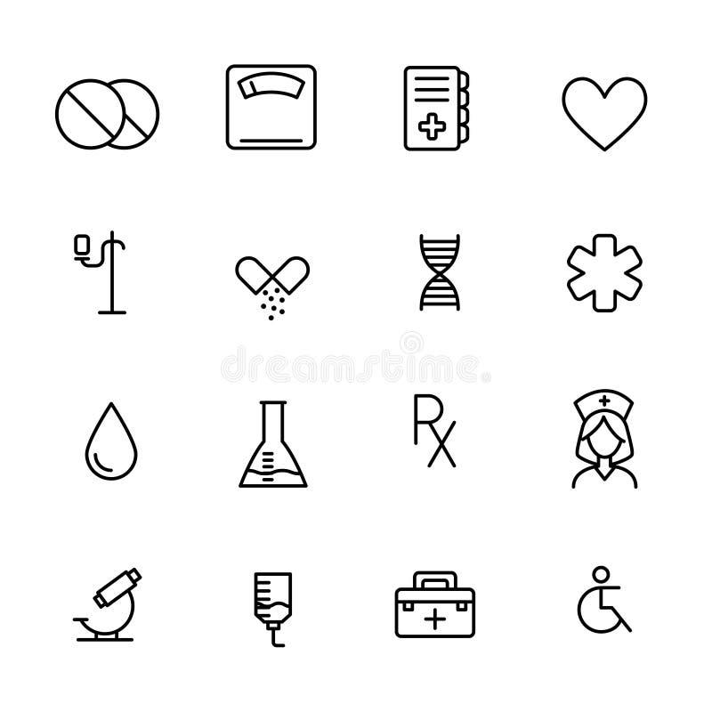Coleção simples de linha relacionada ícones da farmácia ilustração do vetor