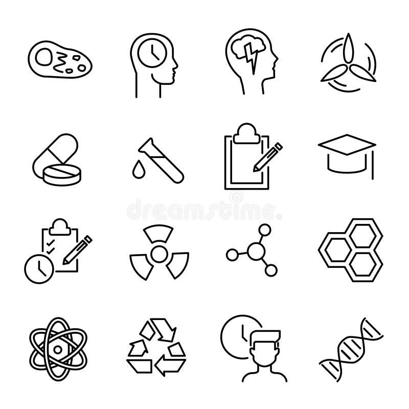 Coleção simples de linha relacionada ícones do laboratório ilustração stock