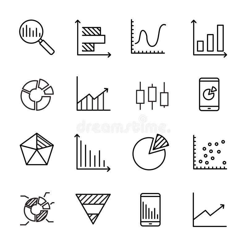 Coleção simples de linha relacionada ícones dos dados comerciais ilustração stock