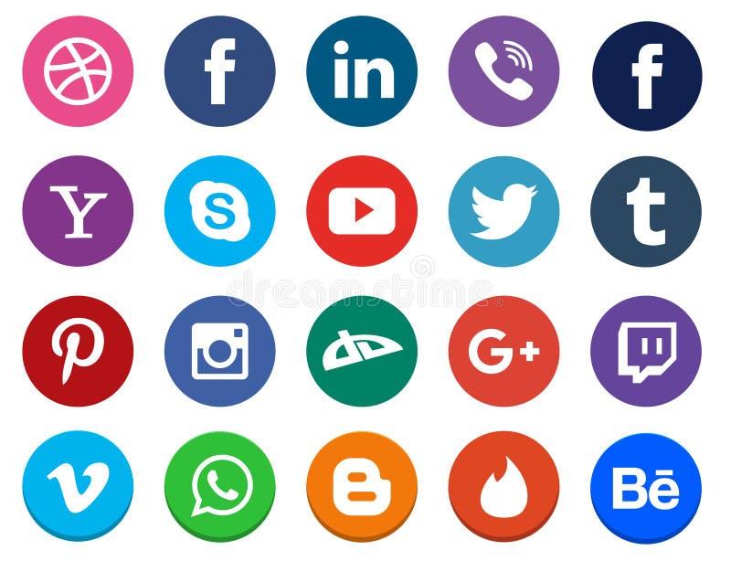 Coleção social do ícone dos meios ilustração royalty free