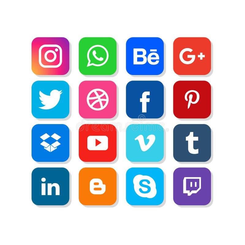 Coleção social dos logotipos dos meios no estilo liso Ícone liso do projeto do vetor para a Web Ilustração surpreendente ilustração royalty free