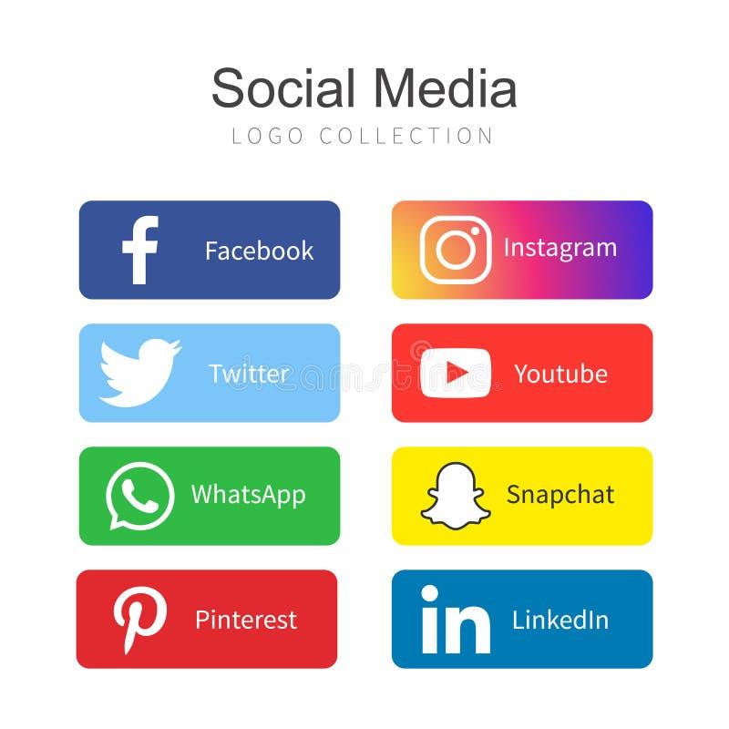 Coleção social popular do logotipo dos meios ilustração stock