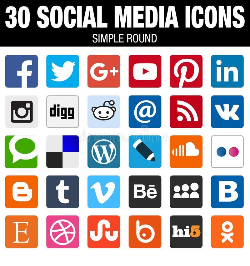 Coleção social quadrada dos ícones dos meios com cantos arredondados
