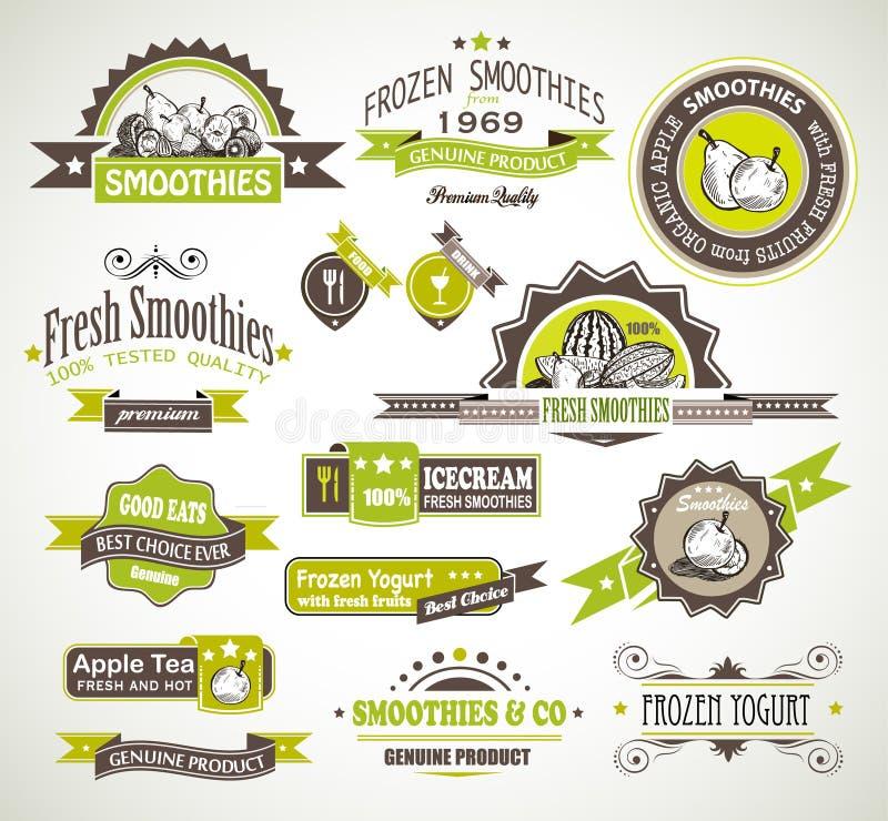 Coleção superior da qualidade de Smoothies das frutas, ilustração royalty free