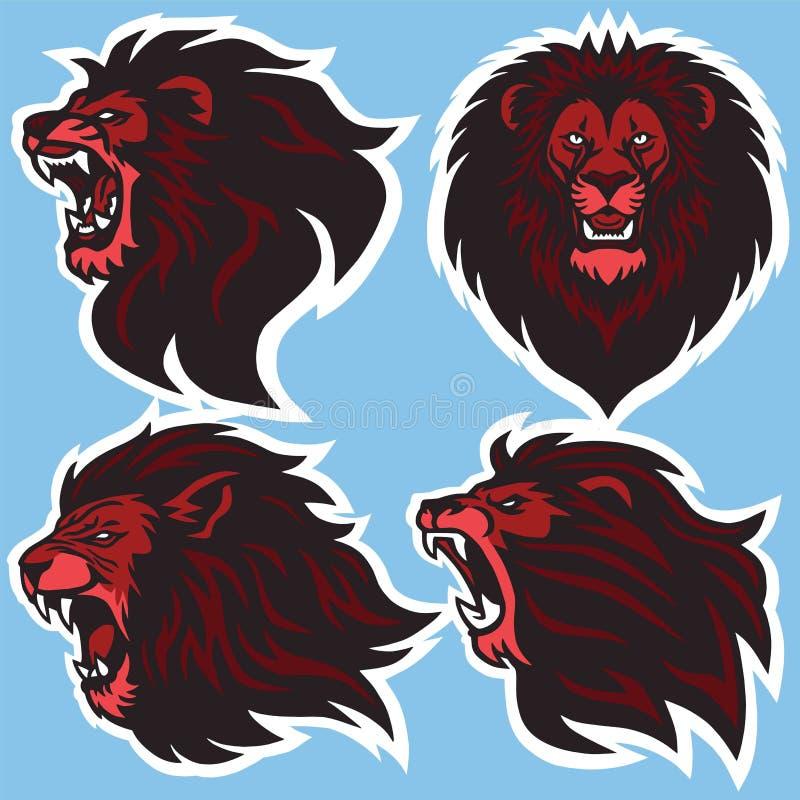 Coleção superior do projeto de Lion Head Logo Vetora Set ilustração stock