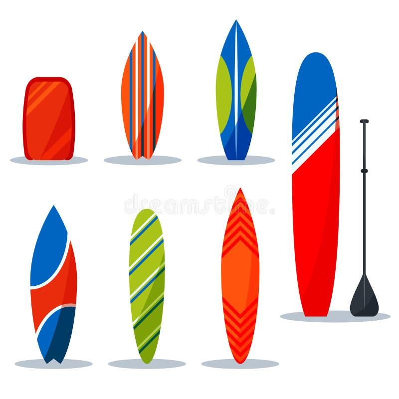 Coleção surfando ajustada das mesas para a ilustração do vetor da engrenagem do surfista ilustração do vetor