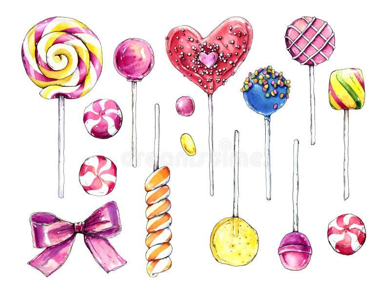 Coleção tirada mão da aquarela de doces coloridos ilustração royalty free