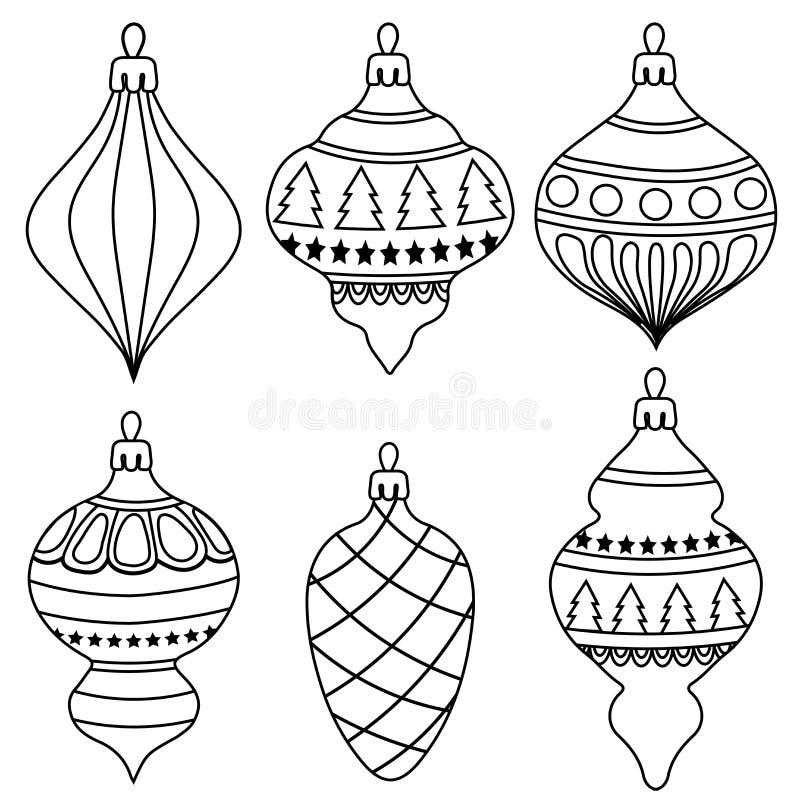 Coleção tirada mão das bolas do Natal do esboço para colorir ilustração do vetor