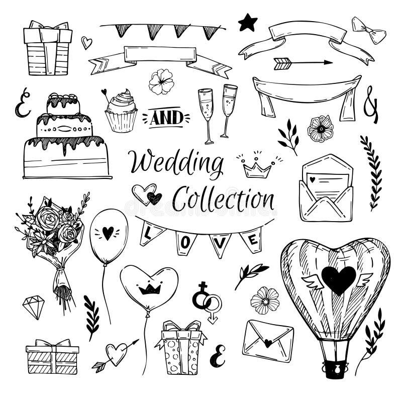 Coleção tirada mão do casamento do vetor Aperfeiçoe para convites ilustração stock